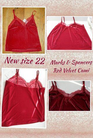 marks & spencers new red velvet cami size 22