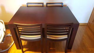 Mesa de salón de madera, extensible con 4 sillas