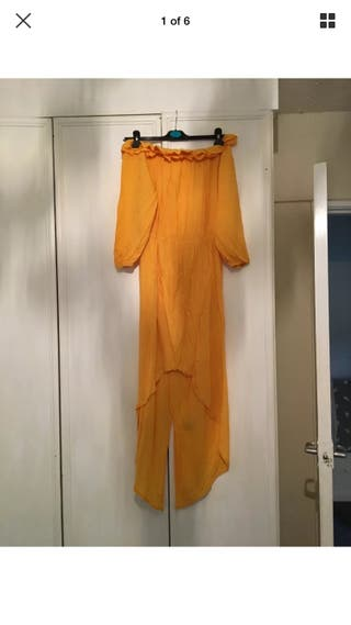 Yellow off shoulders dress size 12