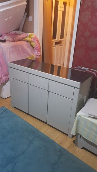 gray sideboard with light and black top £175