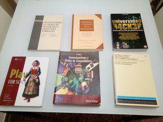 varios libros de informática y matemáticas