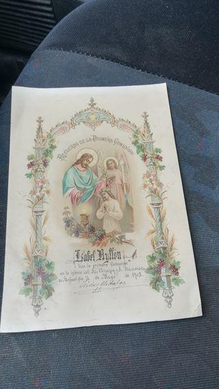Antigua Cromo litografíada de 1902