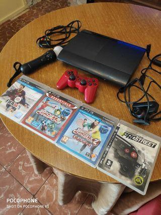 PS3 Super Slim + Mando + 4 Juegos + Control Move