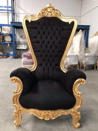 Sillones XL retro barroco oro negro