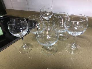 Copas de cristal tallado, 20 und.,