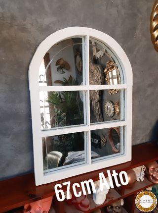 Espejo Ventana Artesanal 67cm Alto Madera Blanca