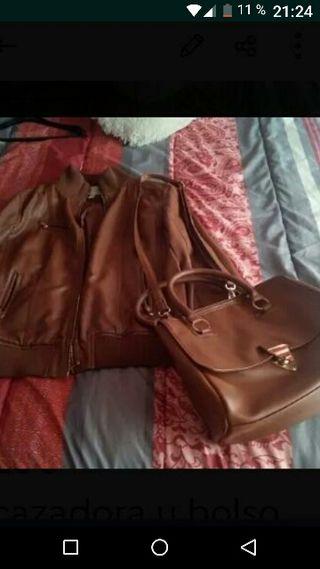 cazadora y bolso marrón chica m