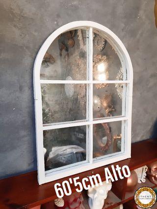 Espejo Ventana Artesanal 60'5cm Alto Madera Blanca