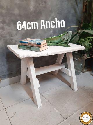 Banco Blanco Artesanal 64cm Ancho Madera Vieja
