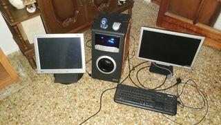 pantallas ordenador y subwofer