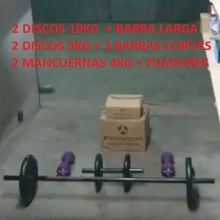Kit Musculacion: Discos + Barras + Mancuernas