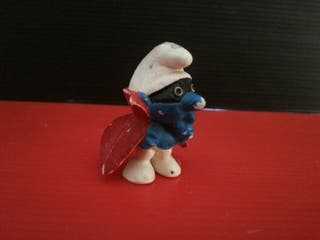 figura de goma pvc pitufo capa superheroe