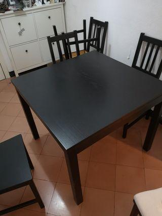juego de mesa extensible +6 sillas con fundas