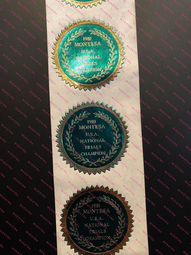 MEDALLA MONTESA CAMPEONA TRIAL USA 1981 (adhesivo)