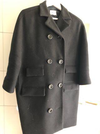 Abrigo tres cuartos lana negro
