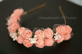 Diadema de flores hecha a mano para novia,niña
