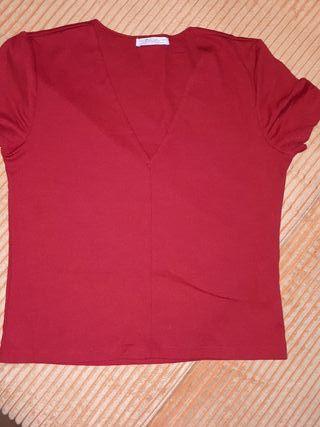 camisa color roja de ZARA TALLA M