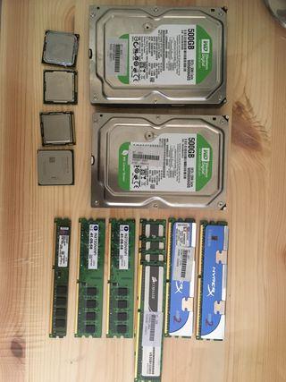 Lote Pc disco duro, ram, procesadores