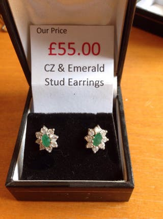 9ct CZ and Emerald Studs