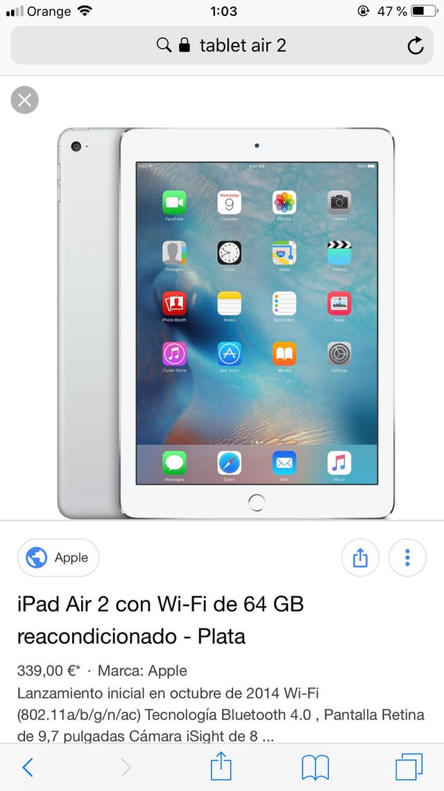Tablet air 2 apple
