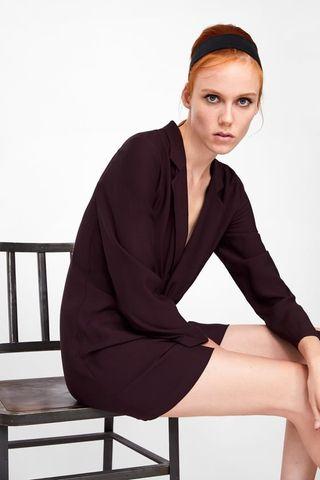Nuevo Vestido Nudo Zara Burdeos Talla S