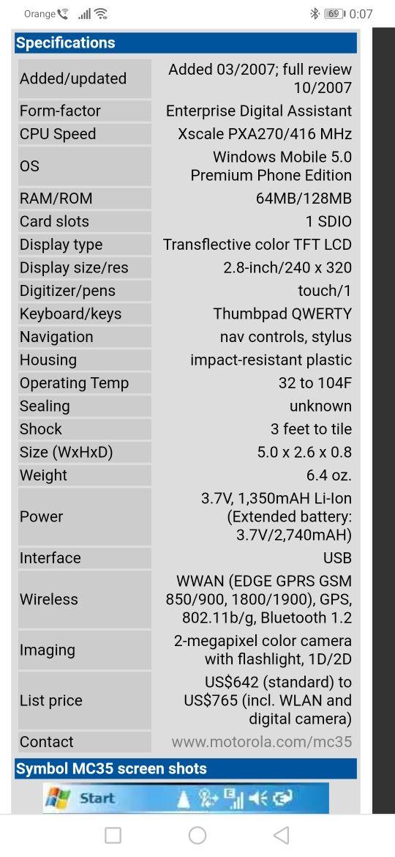 PDA Motorola symbol MC35