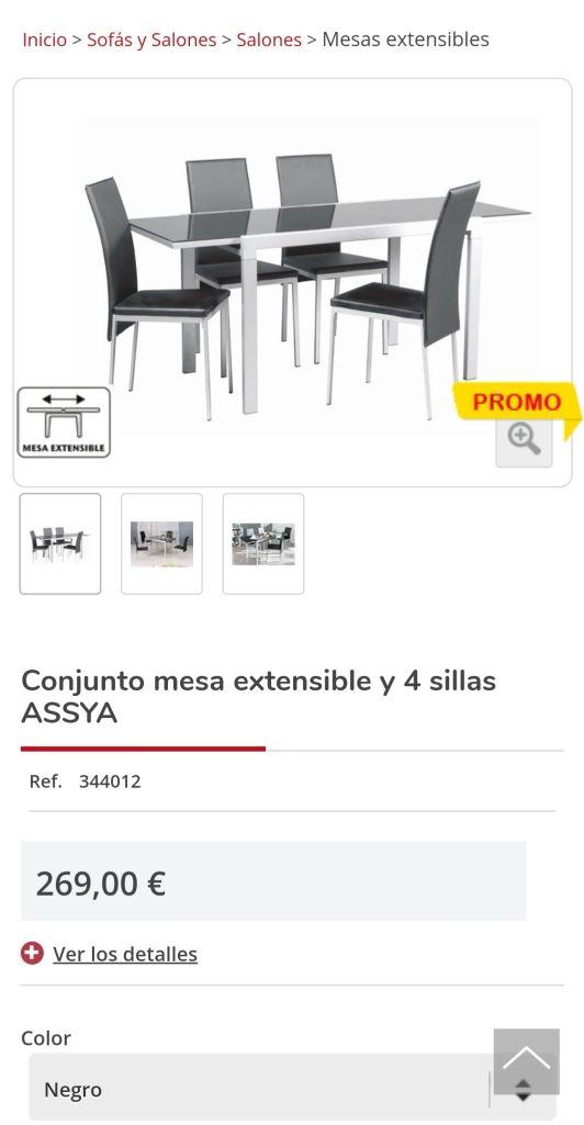 Conjunto Mesa y 4 sillas Conforama