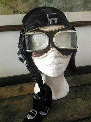 Casco piel y gafas piloto avión Alemán 1960