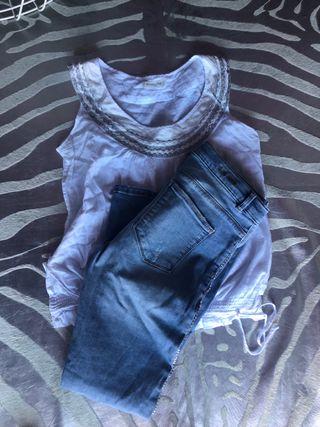 2218a61192 Top Massimo Dutti y pantalón Zara con pedreria t s