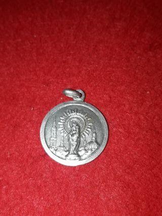 medalla de plata antigua virgen del pilar