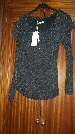 camisa negra brillante talla L/XL