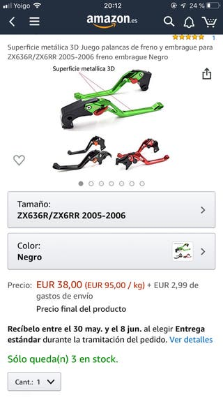 Manetas regulables kawasaki zx636r 2005
