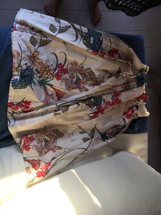 Falda ancha con pliegues TL Stradivarius