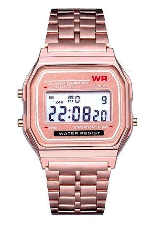 Reloj digital estilo clásico de acero color rosa