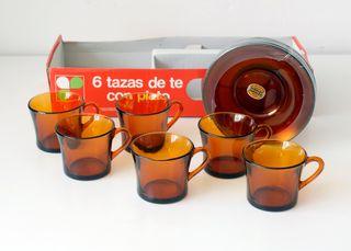Juego de 6 tazas de té con plato. Duralex, Spain