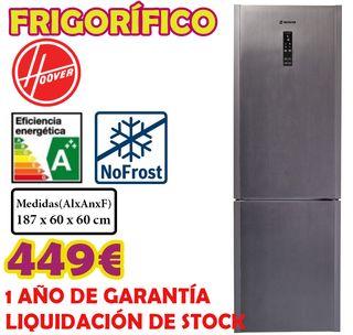 LIQUIDACIÓN FRIGORIFICO HOOVER INOX 1,87M A+++
