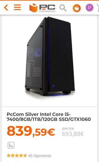PC GAMER(CON GARANTÍA) i5/8GB/1TB/120GbSSD/GTX1060