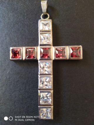 Colgante plata cruz y cristal