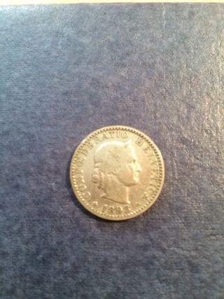 Moneda 1893 Confederacion Helvetica 20 centimos