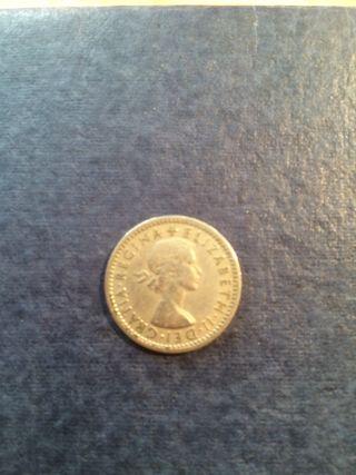 Moneda six pence 1954 Inglaterra
