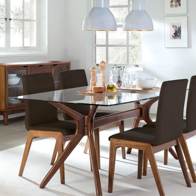 Mesa de comedor madera y cristal + 4 sillas BEIGE de segunda mano ...