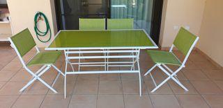 conjunto mesa y 4 sillas de jardin