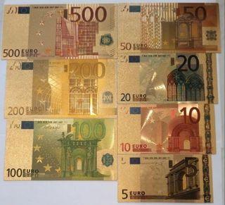 Billetes de euro laminados en oro (nuevos)