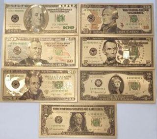 7 billetes de dólar laminados en oro (nuevos)