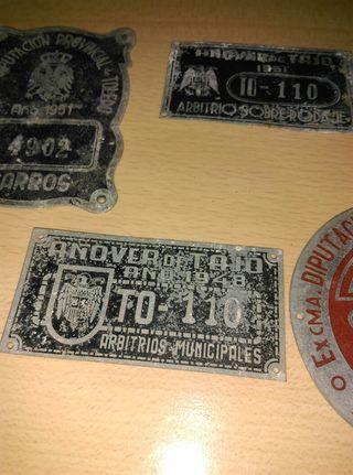 Chapas de rodaje placas antiguas