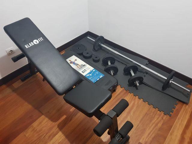 Set de pesas y banco de entrenamiendo
