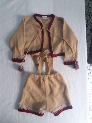 Conjunto lana marrón bebé 1 mes