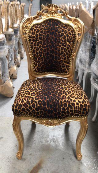 Silla retro barroca oro leopardo