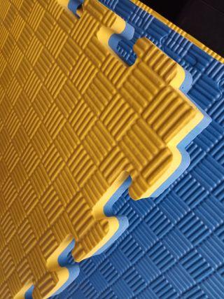 Tatami rayitas, nuevo, amarillo/azul reversible