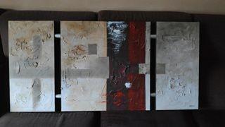 cuadro abstracto 3 piezas unidas
